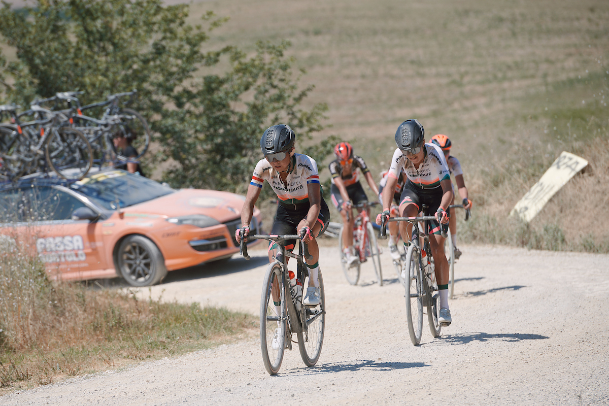 Anouska Koster (NED) at Strade Bianche - Elite Women 2020, a 136 km road race starting and finishing in Siena, Italy on August 1, 2020. Photo by Sean Robinson/velofocus.com
