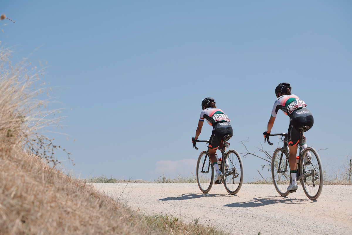 Anouska Koster (NED) and Nina Buysman (NED) at Strade Bianche - Elite Women 2020, a 136 km road race starting and finishing in Siena, Italy on August 1, 2020. Photo by Sean Robinson/velofocus.com