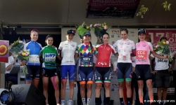 Montboucher sur Jarbon - France - wielrennen - cycling - cyclisme - radsport - illustration - sfeer - illustratie podium ceremony Vos Marianne (Netherlands / CCC Liv) pictured during stage-4 of the 17th Tour Cycliste Feminin International de l'Ardeche from Savasse to Montboucher sur Jarbon in France, a women's cycling race - photo Anton Vos/Cor Vos © 2019