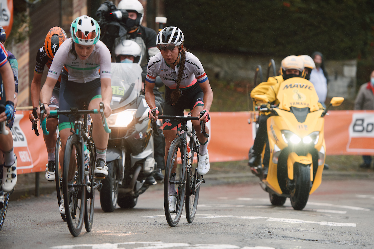 Anouska Koster (NED) in the break on Mur de Huy at the 2020 La Flèche Wallonne Femmes, a 124 km road race in Huy, Belgium on September 30, 2020. Photo by Sean Robinson/velofocus.com